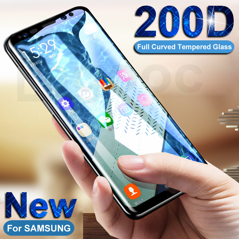200D Full Curved Tempered Glass On For Samsung Galaxy S10E S10 S8 S9 Plus Note 8 9 10 Pro S9 Screen Protective Glass Film Case