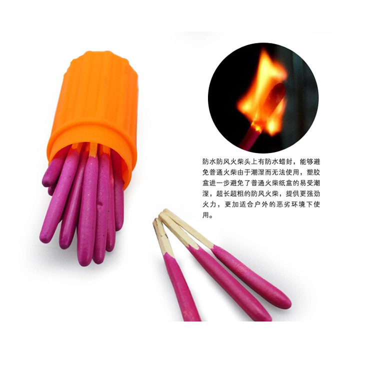 Windproof Waterproof Matches Outdoor Camping Survival Tool Moisture-Proof Immortal Matches Orange Plastic Barreled Wholesale