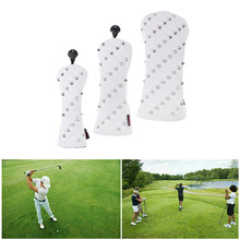 3Pcs Fashion Golf Club Headcovers Wood Driver Head Covers Gift  Premium Rivets Golf HeadCover Driver Fairway Woods Hybrid Covers nrc golf headcover for driver golf club head covers golf head covers no 1 driver headcover high quality funny dustproof 1 wood