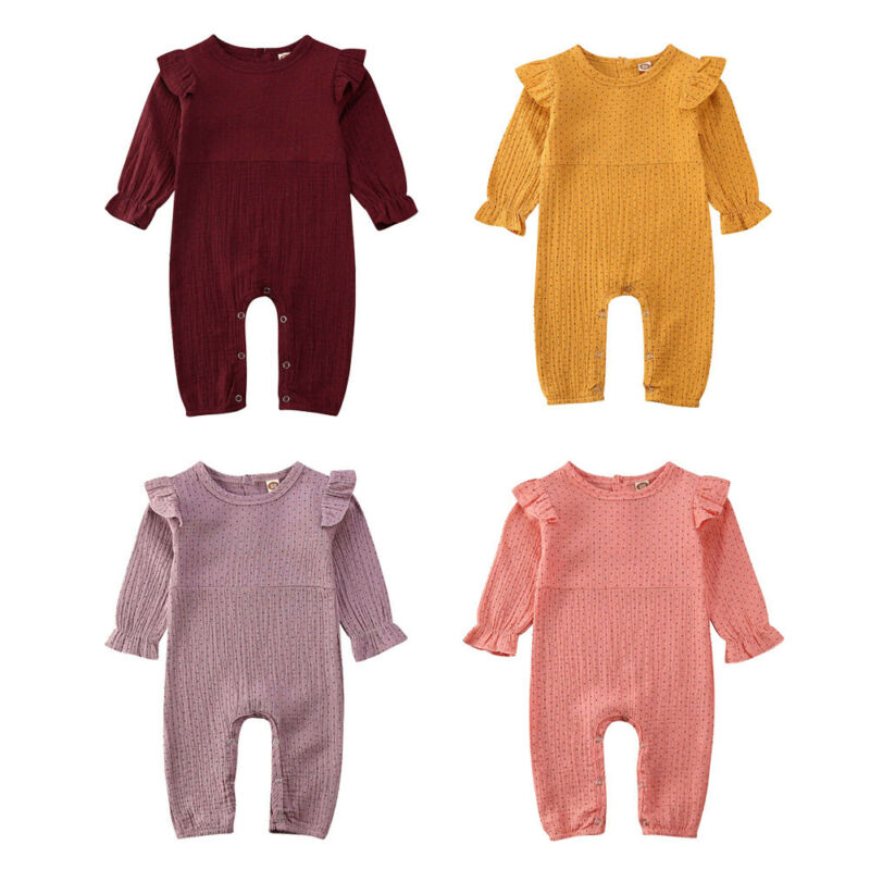 Ruffle Dot Cotton Linen Romper Infant Baby Girls Long Sleeve O Neck Covered Button Outfits Autumn Casual One Piece Clothes 0-24M