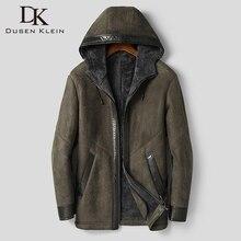 DK Hooded Men Sheepskin Coat Hooded Thicken Fur Clothing Armygreen Casual Fur Jackets Top Quality Fur Outwear