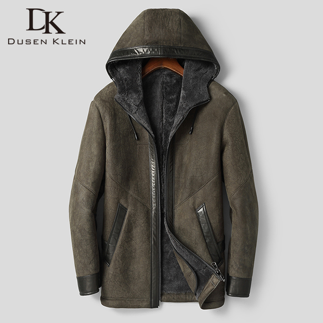 Dk com capuz casaco de pele de carneiro com capuz engrossar roupas de pele armygreen casual casacos de pele de qualidade superior outwear