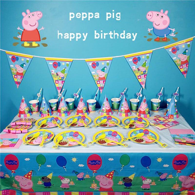 Со Свинкой Пеппой; Happy День рождения украшения комплекты с рисунком из аниме Рисунок Вечерние чашки шляпка ложка мероприятием детские подарки на день рождения|Украшения своими руками для вечеринки|   | АлиЭкспресс