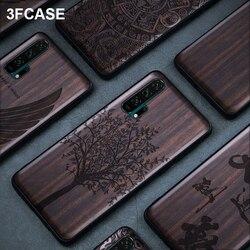 Drewno Honor 20 skrzynka dla Huawei Nova 5T skrzynka luksusowy czarny drewno Honor 20 Pro pokrywa silikonowy Coque dla Huawei Honor 20s Nova 5T skrzynka