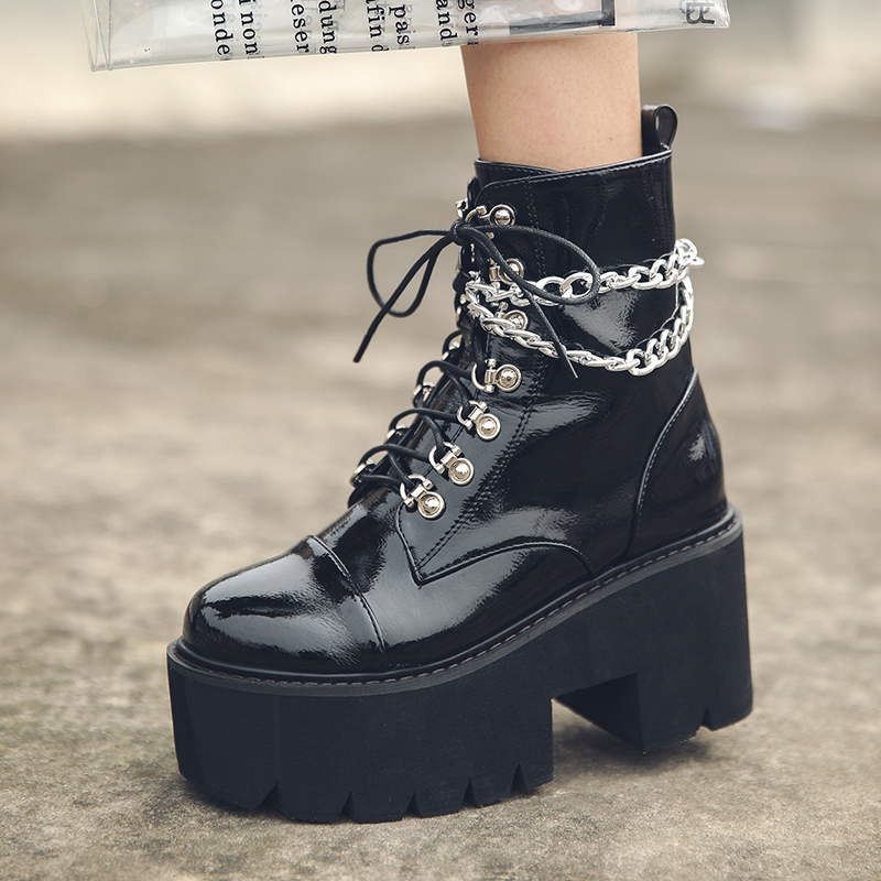 Perixir Gothic Black Boots Women Patent