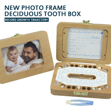 Baby Child Wooden Photo Frame Baby Tooth Box Meaningful First Tooth Keepsake Wooden Storage Box Milk Teeth For Kids Boys Girls