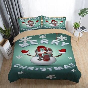 Juego de ropa de cama de Navidad con muñeco de nieve, juego de ropa de cama doble y doble de tamaño individual