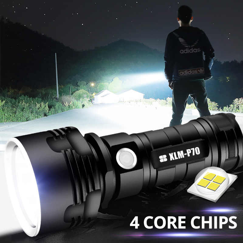 LED Senter Tinggi Power Rechargeable Senter USB Torch Kuat Xhp70.2 Lentera 18650 26650 Taktis Xhp70 Berburu Lampu