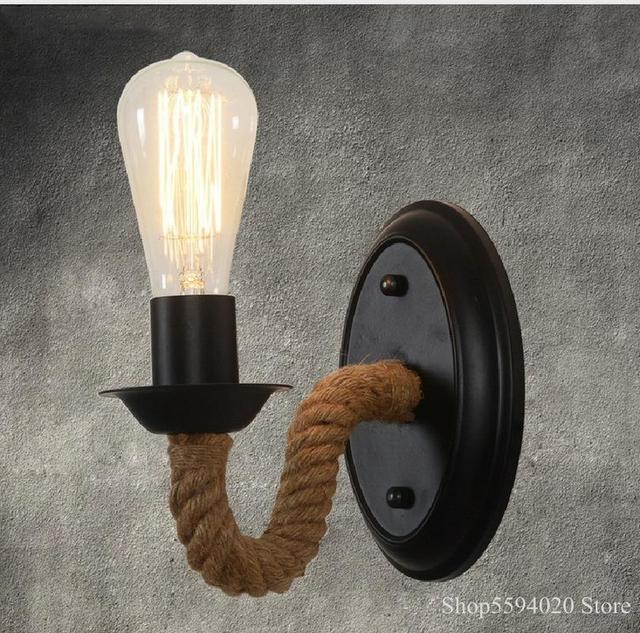 Liny konopne kinkiet amerykański Retro światła kinkiet salon Loft oświetlenie lampka nad lustro kryty kinkiety lampy przytwierdzone do ściany lampka do sypialni