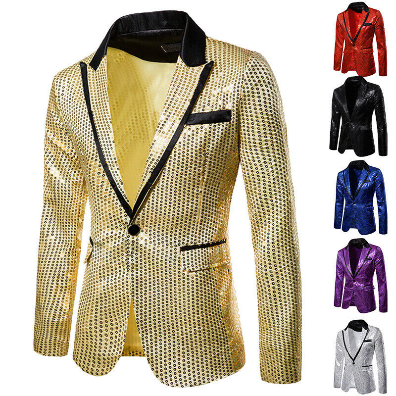 Men Shiny Gold Sequin Glitter Embellished Blazer Jacket Men Nightclub Blazer Wedding Party Suit Jacket Stage Singers Clothes