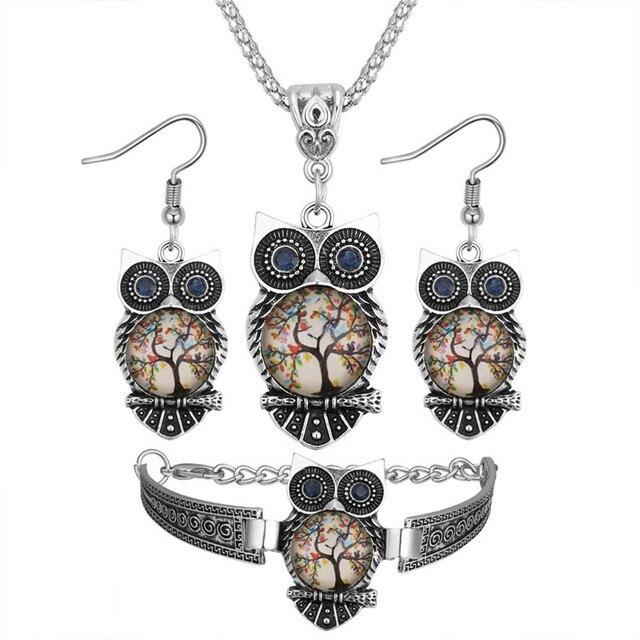 Boho Female Crystal Jewelry Set Charm Silver Color Dangle Earring For Women Vintage Owl Bracelet Wedding Chain Necklace 2