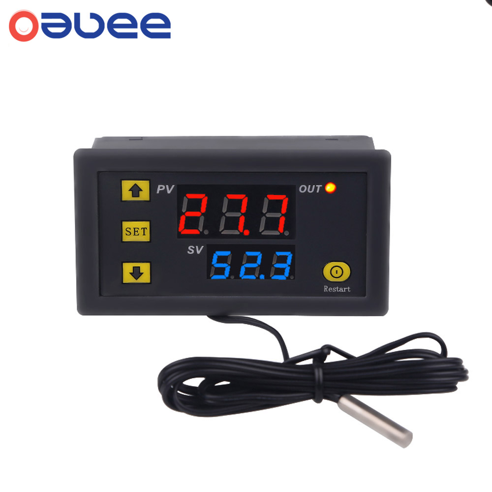 Controlador de temperatura Digital W3230, regulador de termostato, Control de enfriamiento de calefacción, termorregulador con Sensor, 12V, 24V, 220V