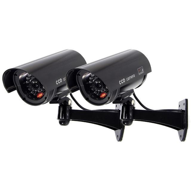 2 قطعة كاميرا وهمية وهمية مع تحذير ملصق رصاصة مقاوم للماء في الهواء الطلق المراقبة الأمنية cctv كاميرا الأشعة تحت الحمراء LED شحن مجاني
