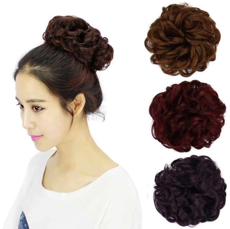 Soowee 30 Colors Synthetic Hair Headband Hair Bun Chignon High Temperature Fiber Hair Donut Roller Hairband Scrunchies Headwear