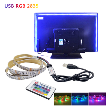 USB Mini 3key LED Strip DC 5V Flexible Light 60LEDs 50CM 1M 2M 3M 4M 5M SMD 2835 Desktop Decor Screen TV Background Lighting image