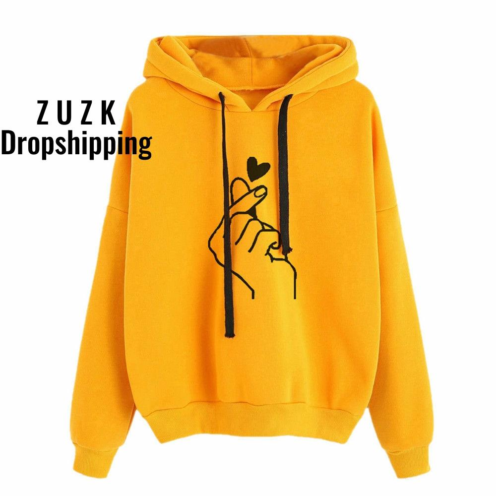 Unisex Hoodies Sweatshirt Pullover Tops Autumn Winter Women Men Unisex Heart Printed Hooded Casual Long-sleeved Coat