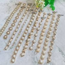 1 Yard Crystal Rhinestones Trim Gold Silver Metal Chain Ribbon Sew on Clothing Bags DIY Craft Accessories Decoration