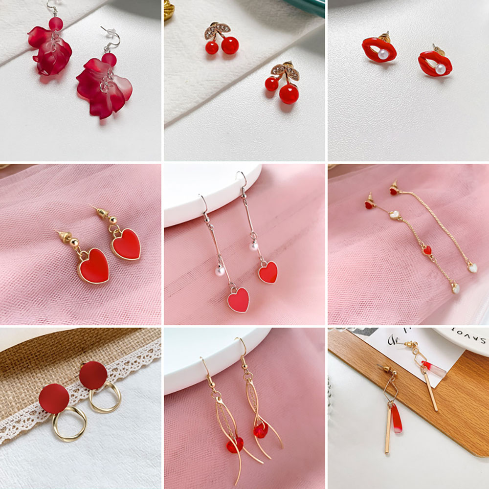 New Year Style Red Sexy Lips Earring Long Fashion Dangle Earrings for Women Temperament Red Cherry Heart Flower Petal Earrings