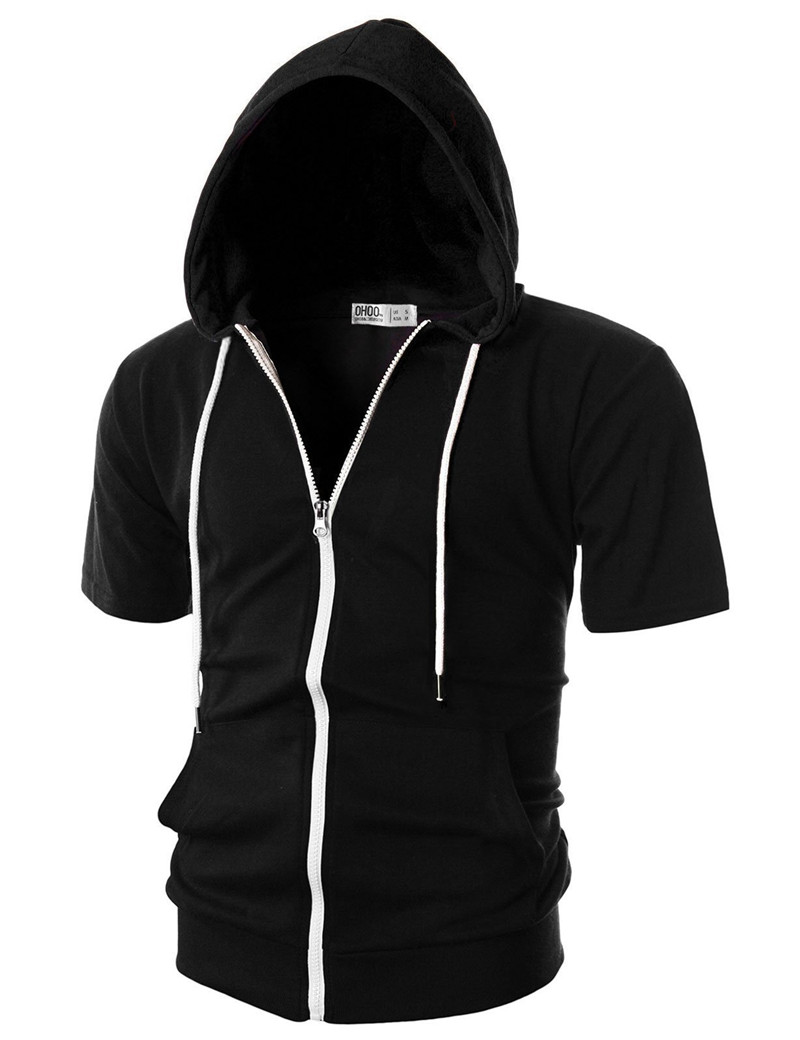 Summer Casual Mens Short Sleeves Hoodies Male Hooded Sweatshirts Cool Solid Color Men Sportswear Streetwear Tops Plus Size (2)