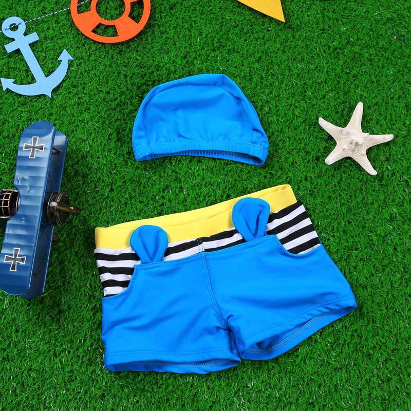 2016 Haiyishan KID'S Swimwear Small Ears BOY'S Swimming Trunks Cute Stripe Swim Cap Boy Students Tour Bathing Suit