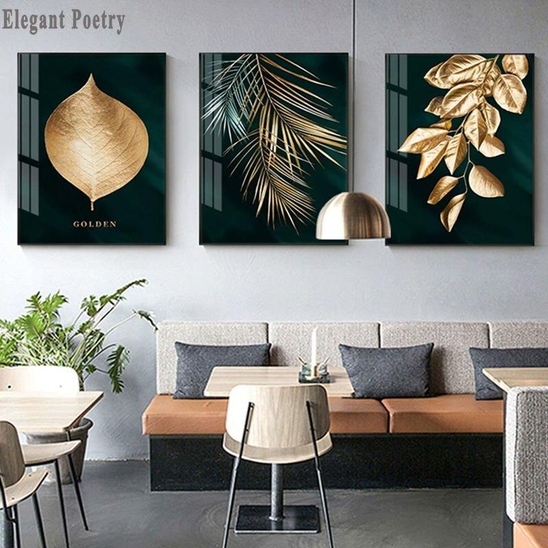 บทคัดย่อโกลเด้นใบพืชภาพโปสเตอร์ผนังสไตล์โมเดิร์นผ้าใบพิมพ์ภาพวาดศิลปะทางเดินห้องนั่งเ...