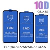 Protector de pantalla de vidrio templado 10D para iPhone, película protectora de pantalla de cobertura completa 9H, para modelos 12, Mini, 11 Pro, Max, XS, XR, X, 8, 7, 6, 6S Plus SE, 10 Uds.