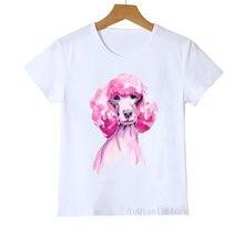 Летняя футболка для девочек с принтом «Парижский Пудель» 2020