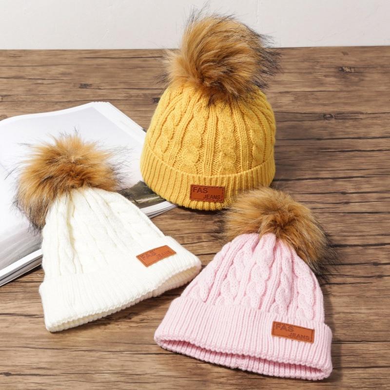 Winter Women Beanies Knitted Girl Fur Pompom Hats Fashion Raccoon Fur Casual Hat Caps