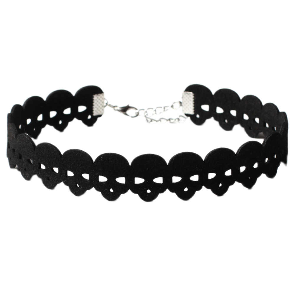 Черный чокер Скелет бархатные ожерелья серебро пустой череп ключицы цепи модные очаровательные ювелирные изделия для очаровательных женщин