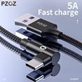 PZOZ 5A usb c кабель, USB Type C 90 градусов быстрая зарядка для Huawei P20 P10 Mate 20 Pro 10 Nova 2s зарядное устройство usb-c кабель для передачи данных