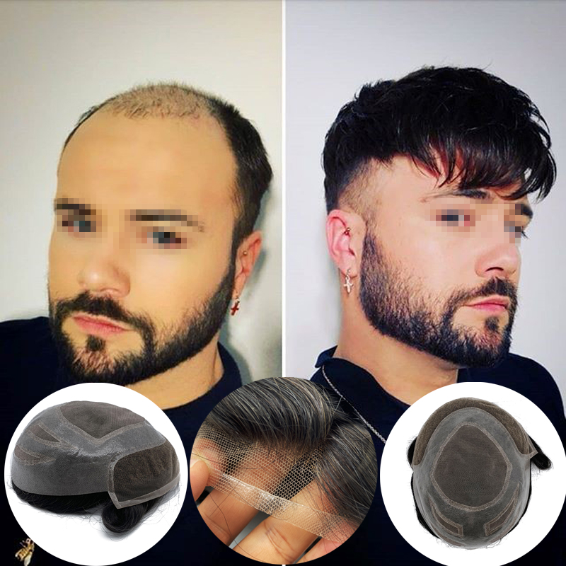 VERSALITE Base Style Mono Wigs Human Hair Toupee Lace Front Wig Men 8x10 Inch Replacement Hairpieces