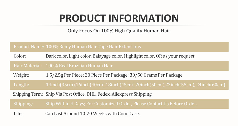 PRODUCT INFORMATION tape