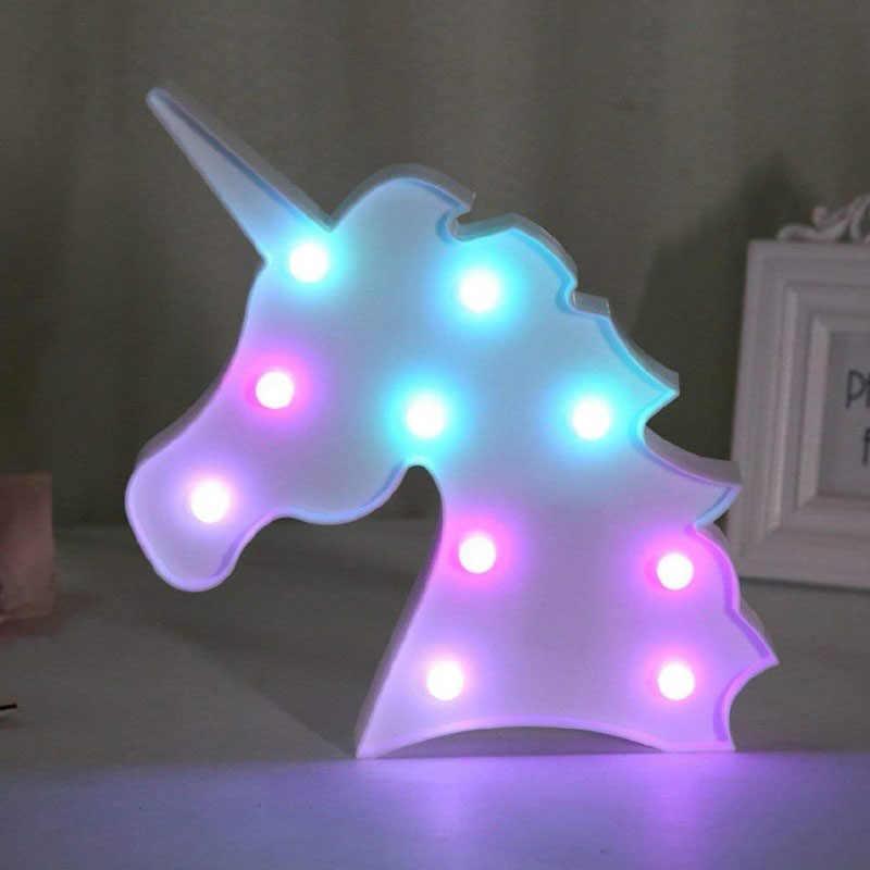 Unicorn işık Unicorn parti lamba LED Marquee mektup hayvan çocuk odası masa lambası duvar dekorasyonu LED gece lambası