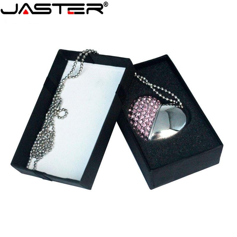 JASTER USB Flash  Drive Crystal Love Heart +box Pen Drive Precious Stone 4G/ 8G/ 16G/ 32G /diamante Memory Stick Wedding Gift