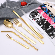 Hot Sale Korean Tableware Dinnerware Set Stainless Steel Chopsticks Spoon Fork Kitchen Cutlery School Home Party