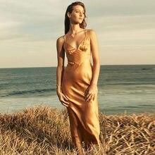Sexy decote em v sem encosto oco para fora rendas até cetim vestido longo verão sem mangas feminino cinta de espaguete a linha maxi vestido longo