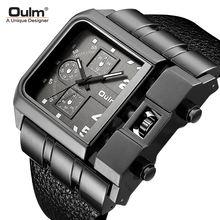 Роскошные кварцевые мужские часы с большим циферблатом и ремешком