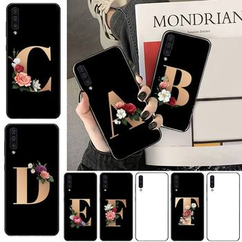 Name letter flower Phone Case For Samsung galaxy S 7 8 9 10 20 edge A 6 10 20 30 50 51 70 note 10 plus image
