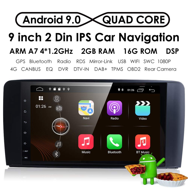 9 zoll <font><b>Android</b></font> <font><b>9.0</b></font> <font><b>2</b></font> + 16G Auto GPS Navigation 4 Core Multimedia Player Bluetooth Autoradio für Merce des- benz GL ML Klasse W164 ML3 image