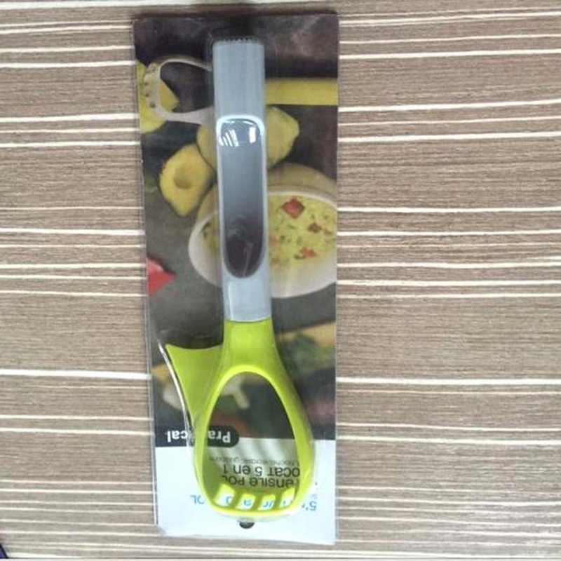Creativo utensilios de cocina para fruta Gadgets cortador de frutas rebanadora de aguacate cuchillo Splitter verde y gris