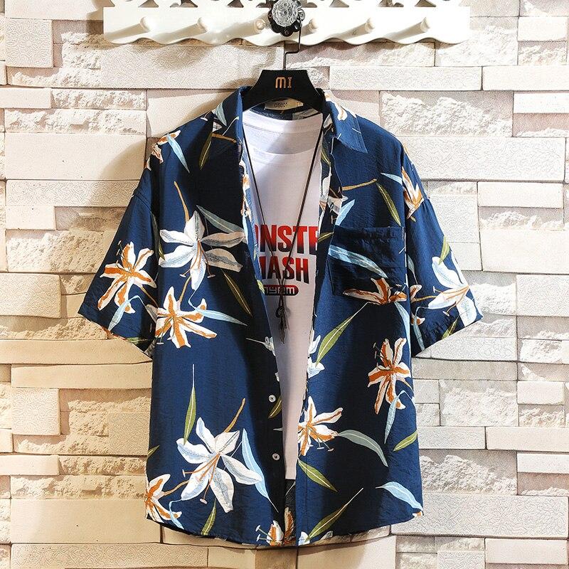 Summer Hot Sell Men's Beach Shirt Fashion Short Sleeve Floral Loose Casual Shirts Plus Size M-4XL 5XL Hawaiian