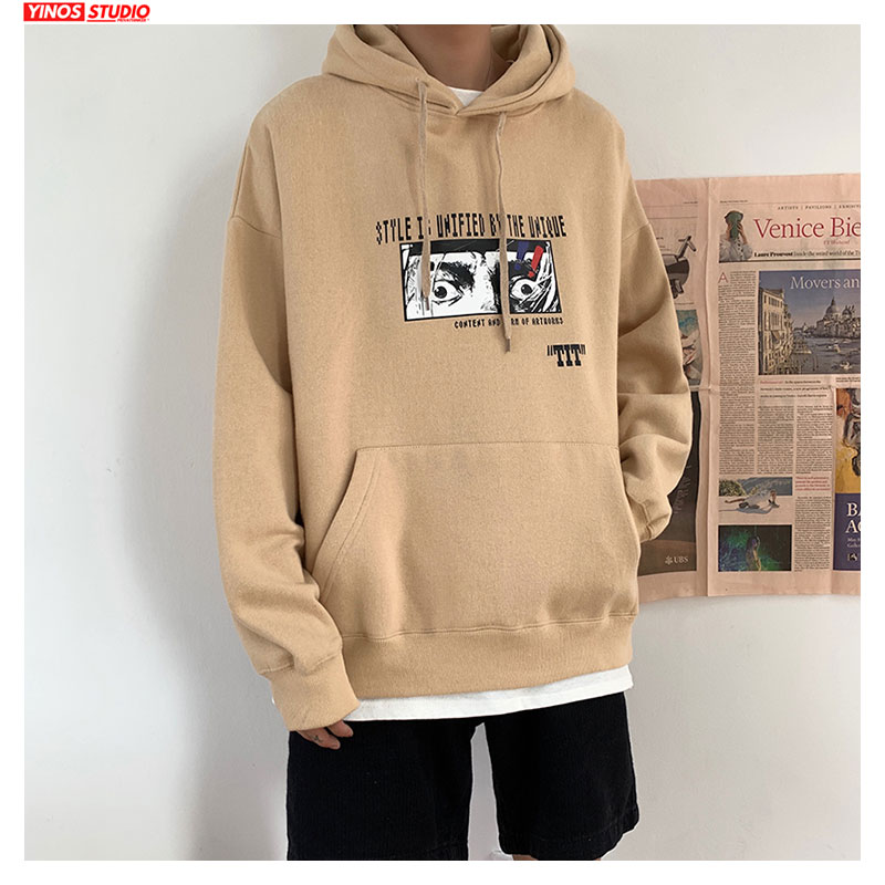 Dropshipping 2019 Mens Causal Streetwear Sweatshirt Male Thicken Print Sport Loose Hooded Hoodies Japanese Fashion Pullover New