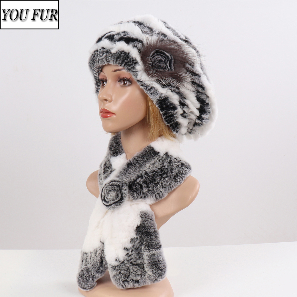 2020 New Winter Rex Rabbit Fur Hats Scarves Women Fashion 100% Genuine Knit Fur Caps Scarves Sets Lady Warm Real Fur Hat Muffler