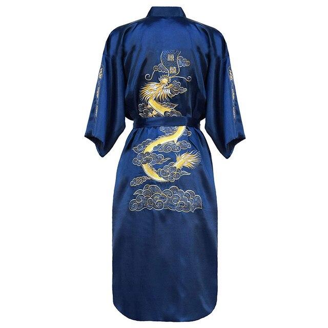Кимоно халат мужской с вышивкой в китайском стиле 4