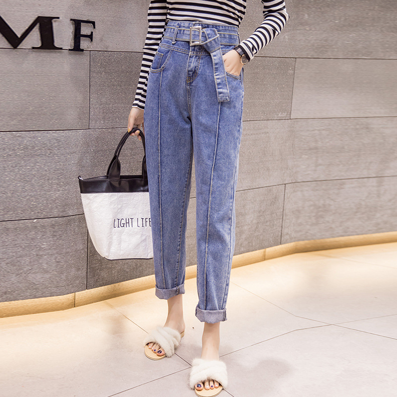 Photo Shoot Spring Clothing Hong Kong Style Retro Belt Ultra High Waist Loose-Fit BF Casual Flash Cowboy Trousers Women's 9821
