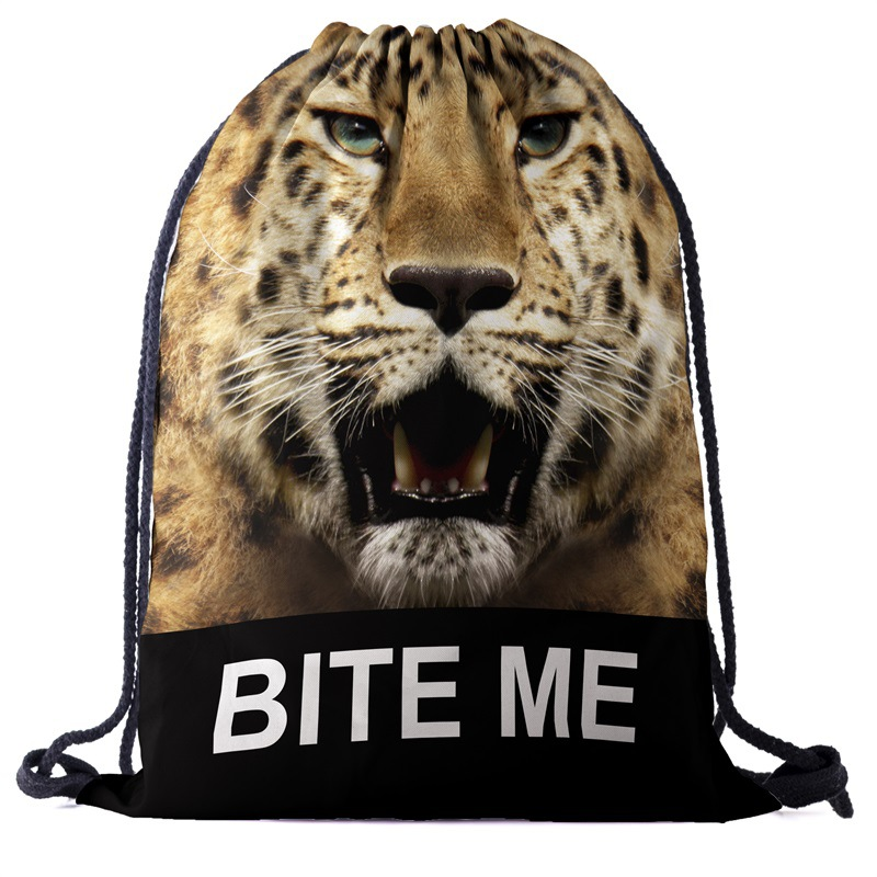 Bags Tiger Backpack Drawstring Drawstring Fashion 3D Printing  Travel Softback Men Bags Unisex Women's Shoulder Bag Knapsack New