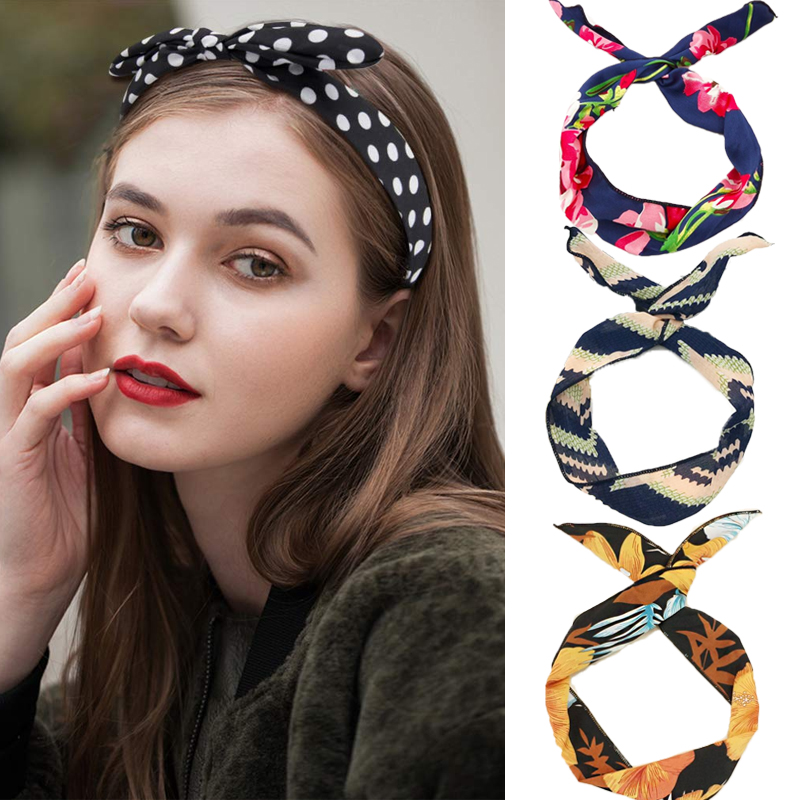 Fashion Bow-knot Headband Bohemia Style Hair Hoop Hair Accessories For Women Girls Headwear Hair Band With Metal Wire Gifts