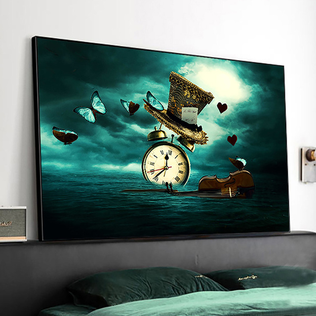 Clock Violin Butterfly Hat Surrealism Painting Printed on Canvas 2