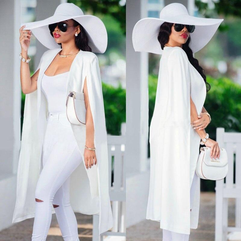 Fashion Women Long Coat Cloak Cape Slim Solid Grace Elegant Suit Jacket Trench Poncho Outwear Tops Office Lady