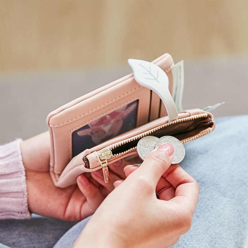 패션 여성 지갑 잎 패턴 Hasp 숙녀 지갑 부드러운 pu 가죽 작은 짧은 지갑 여성 지퍼 동전 지갑